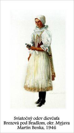 Slovenské kroje 029 Brezová pod Bradlom Folk Costume, Costumes, Folk Embroidery, Folklore, Graphic Art, Illustration Art, Tapestry, Travelling, Artist