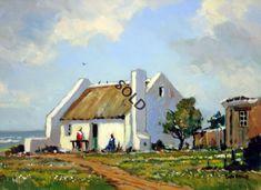 Western Cape Cottage by Building Painting, Building Art, Landscape Art, Landscape Paintings, South African Art, Cottage Art, Africa Art, Encaustic Art, Pastel Art