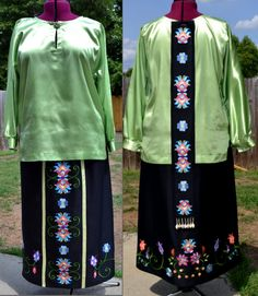Machine Embroidered Southern Cloth Powwow regalia. Skirt and back drop