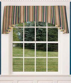 Alternate for Living Room:    Devon Stripe Lined Festoon and Jabot Set