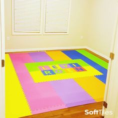 A fun colorful Children's Playmat using SoftTiles Interlocking Foam Mats. Purchase only the letters you need to spell the names or words you want! Playroom Flooring, Kid Names, Mj, Your Child, Your Design, Alphabet, How To Memorize Things, Outdoor Blanket, Nursery