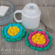 Crochet Blossom Scrubby - Flower Scrubbies - Kitchen or Bath Scrubbers by Donna Wolfe from Naztazia