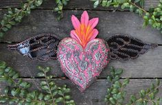 Medium Pink Wood Heart Tin Wings & Milagros Folk Art Michoacán Mexico Love Token