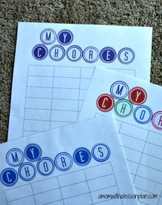 Chore Chart System and great ideas for dividing family duties and paid chores.