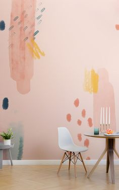 Introduce a colourful and creative new aspect to your space with this paint brush strokes wallpaper, a unique design. Dining Room Wallpaper, Home Wallpaper, Paint Wallpaper, Bedroom Murals, Wall Murals, Wall Decor, Room Decor, House Colors, Colorful Interiors