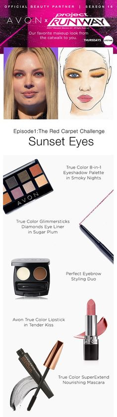 Runway to real life! Take a twist on smokey eyes and dare to try a sunset color as seen on last night's Project Runway Season 16 premiere with Avon True Color Makeup! #AvonxProjectRunway