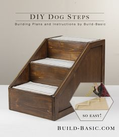 Skip the pricy plastic steps at the store and make this simple DIY version for under $30! Click the image to see how EASY it is!!! Full building plans and cut list by @BuildBasic www.build-basic.om #Dog #Puppy #PetSteps #Woodworking #DIY #HowTo