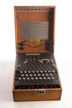 Enigma Machine - Enigma Machine During World War II, the Germans used the Enigma, a cipher machine, to develop nearly unbreakable codes for sending messages. The Enigma's settings offered 150,000,000,000,000,000,000 possible solutions, yet the Allies were eventually able to crack its code. By end of the war, 10 percent of all German Enigma communications were decoded at Bletchley Park, in England, on the world's first electromagnetic computers.