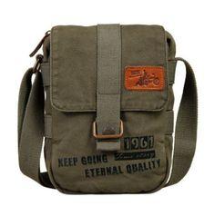 Mens Vintage Canvas Military Messenger Shoulder Bag by SanAlx