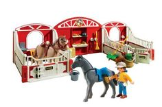 Playmobil Country Pony Stable by PLAYMOBIL. $19.99. Take care of your horses and give them the perfect home with the County Pony Stable. Figures can bend, sit, stand and turn their heads. Encourages children to explore and learn while having fun. Includes figure, two horses, two stables with nameplates, grooming brushes, hay bales, broom, riding helmet, riding crop, & saddles. Playmobil is the largest toy manufacturer in Germany. From the Manufacturer                Playmobi...
