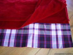 Wrap/Stole in Dress MacPherson  TARTAN SILK and RED Velvet, designed and made by Lorna, in Scotland