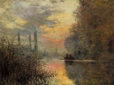 Claude Monet, Atardecer en Argenteuil, 1876. Óleo sobre lienzo, Colección particular.