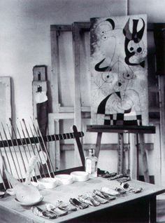 """The works must be conceived with fire in the soul but executed with clinical coolness."""" Joan Miró's taboret and studio.    Joan Miró (April 20, 1893 – December 25, 1983) was a Spanish Catalan painter, sculptor, and ceramicist born in Barcelona."""