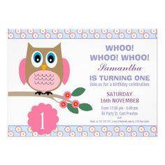 Girls Owl Birthday party Invitation