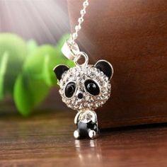 Yanqueens Rhinestone Panda Pendant