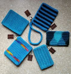 Coin Purse  - credit card holder crochet turquoise with zipper by DesignsbyMissJP on Etsy