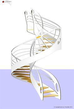 Escalier colimaçon design de style Art Nouveau dessiné par Jean Luc Chevallier pour La Stylique.