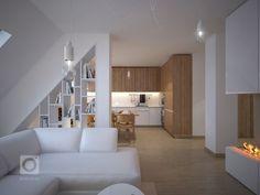 Návrh kuchyně a obýváku v podkrovním mezonetovém bytě. Vymazlený design je ve stylu skandinávský minimalismus. V kuchyňské části s dřevodekorem na horních… Attic Spaces, Attic Rooms, Attic Apartment, Apartment Design, Attic Bedroom Designs, Tiny House Storage, Attic Renovation, Küchen Design, Small Apartments