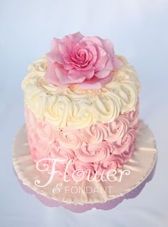 Ombré buttercream rose swirl cake with full fondant rose on top.