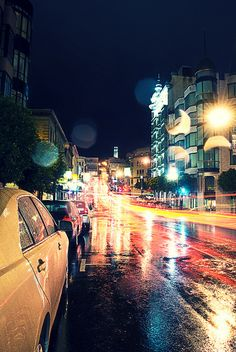 city, lights, night, photography