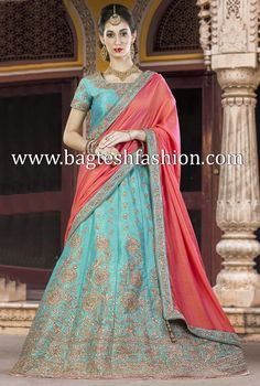 Stylish Turquoise Silk Lehenga Choli