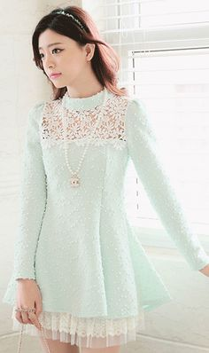 Pastel princess! lace detailed stand up collar pastel green dress with full sleeves and layered hemline.  absolute love.