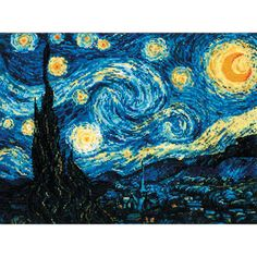 Riolis Counted Cross Stitch Kit - Starry Night by Van Gogh - Riolis Intermediate Classics - Atlascraft Counted Cross Stitch Kits, Cross Stitch Charts, Cross Stitch Designs, Cross Stitch Embroidery, Cross Stitch Patterns, Cross Stitching, Fun Craft, Tapestry Kits, Van Gogh Paintings