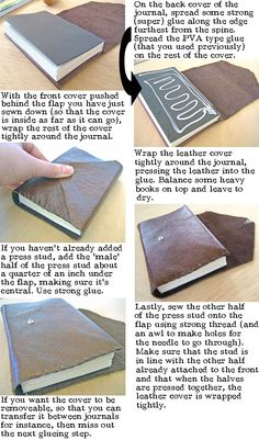 Step by step instructions to leather bind a book or journal.