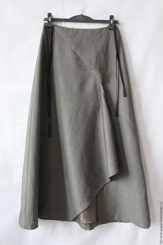 Юбка длинная широкая шерстяная на подкладке цвета хаки ассиметричная – купить в интернет-магазине на Ярмарке Мастеров с доставкой