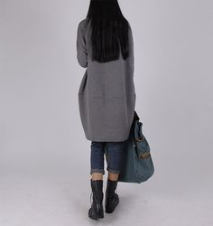 Oversize Gray Hoodie Long Sleeve Loose Dress by Jessieclothing