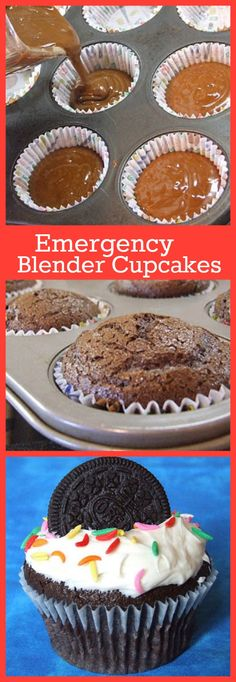"Emergency Blender Cupcakes #recipe... as in, ""Mom... I need cupcakes for school tomorrow!!""  This is a super easy from-scratch recipe made in the blender."