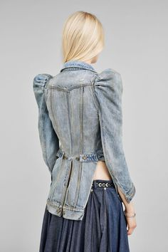Faith Connexion denim victorian style jacket has puff shoulders and tails.  COTTON Elastodiene MADE IN EUROPE Do not dry clean Iron at max Do not  bleach Wash ... 52399be98a