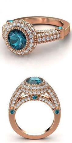 14k rose gold blue topaz and diamond ring