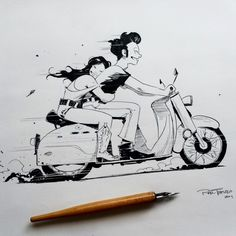 Ink Illustrations, Illustration Art, Trevino Art, Drawing Sketches, Art Drawings, Bike Sketch, Pin Up, Couple Drawings, Couple Cartoon