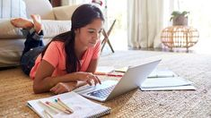 Teenage girl lying on the floor doing her homework using a laptop computer by monkeybusiness. Teenage girl lying on the floor in the living room doing her homework using a laptop computer, low angle, close up Interactive Stories, Interactive Learning, Teaching Kids, Kids Learning, Stem Classes, Types Of Education, Alternative Education, Financial Aid For College, Thinking Skills