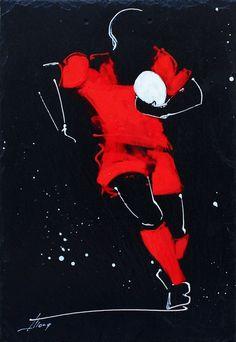 Peinture sur ARDOISE Thématique : Rugby Equipe : RC Toulon Dimension : 32 x 22 #madeinfrance #farklionline