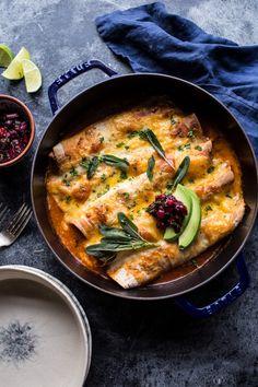Green Chile Butternut Squash and Turkey Enchiladas with Crispy Sage - Half Baked Harvest
