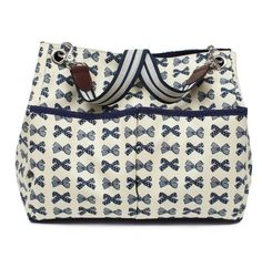 Pink Lining Navy Bows Queensdale Tote