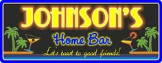 Neon Glow Personalized Bar Sign with Palm Trees & Cocktails