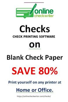 Checks Business Checks or Personal Checks – Print your own checks at home or office on Blank Check paper. No more ordering checks … Order Checks Online, Bitcoin Faucet, Writing Software, Check Email, Business Checks, Check Printing, Blank Check, Cool Things To Buy, Writer