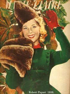 Robert Piguet 1939 - Fur jacket over dress.
