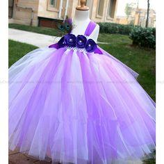 White Purple Flower Girl Tutu Dress