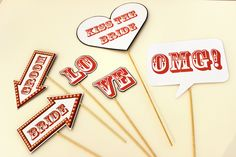 Photobooth Props Wedding Signs – Set of Six