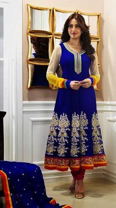 $86.67 Bipasa Basu in Blue Bollywood A Line Anarkali Salwar Suit 24623