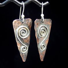 Rustic Romance - hammered copper and sterling earrings.  ...from Lavender Cottage Jewelry