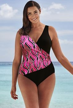 b21b8894c003f Clearance - Beach Belle Coral Fan Surplice Swimsuit Swimwear Clearance,  Swimwear Sale, Women's Plus