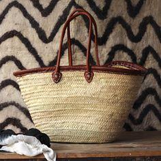 Market basket with leather rim & handles