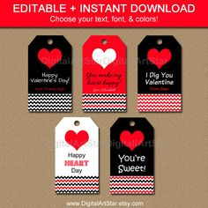 Editable Valentines Day Gift Tags with chevron; type any message you want; by digitalartstar, $5 Learn more here: https://www.etsy.com/listing/219050679/printable-valentines-day-gift-tags?ref=shop_home_active_6&ga_search_query=valentine