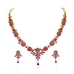 Traditional South Indian Ruby & Emerald Necklace Set - Fire and Earth - Collections - Type - Products