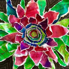 Finished a workshop sample last night. #watercolor #watercolorpaper #papermanipulation #funkyflower